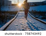 young attractive woman jogging... | Shutterstock . vector #758743492