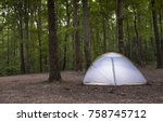 small nylon tent pitched in the ... | Shutterstock . vector #758745712