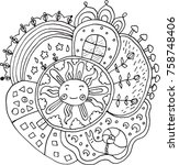 kid drawn mandala with sun and... | Shutterstock .eps vector #758748406
