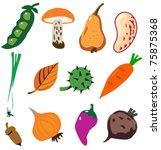 vegetables doodle cartoon set... | Shutterstock .eps vector #75875368