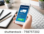 woman tracking parcel with help ... | Shutterstock . vector #758757202