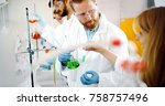 young students of chemistry... | Shutterstock . vector #758757496