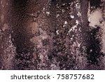 old felt roofing tar fragment... | Shutterstock . vector #758757682
