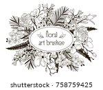 vector floral flexible art... | Shutterstock .eps vector #758759425