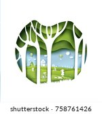 eco paper art design style  ... | Shutterstock .eps vector #758761426