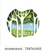 eco paper art design style  ... | Shutterstock .eps vector #758761435