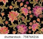 seamless pattern. golden... | Shutterstock . vector #758764216
