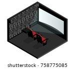 isometric cinema room | Shutterstock .eps vector #758775085