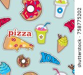 seamless pattern with food.... | Shutterstock . vector #758775202