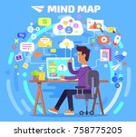 mind map of person who works at ... | Shutterstock . vector #758775205