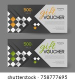 gift voucher template  squares... | Shutterstock .eps vector #758777695