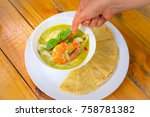 roti with seafood green curry... | Shutterstock . vector #758781382