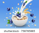 oatmeal advertising and... | Shutterstock .eps vector #758785885