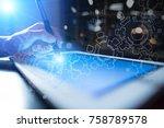 gears on virtual screen.... | Shutterstock . vector #758789578