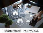 online insurance on virtual... | Shutterstock . vector #758792566