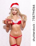 sexy blonde woman holding gift... | Shutterstock . vector #758794066