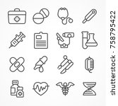 medical line icons on white... | Shutterstock .eps vector #758795422