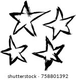 brushed vector stars | Shutterstock .eps vector #758801392
