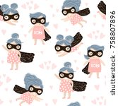 seamless pattern with cute baby ... | Shutterstock .eps vector #758807896