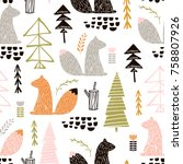 seamless pattern with squirrel... | Shutterstock .eps vector #758807926