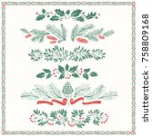 decorative floral christmas... | Shutterstock .eps vector #758809168