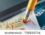 pencil erasing credit card debt   Shutterstock . vector #758810716