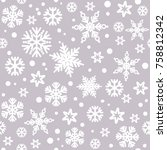 christmas seamless pattern with ... | Shutterstock .eps vector #758812342