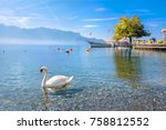 quay with old ferry on lake...   Shutterstock . vector #758812552