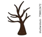 pixelated naked tree isolated... | Shutterstock .eps vector #758812672