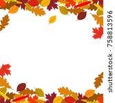 autumn background with golden... | Shutterstock .eps vector #758813596