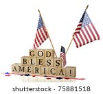 Three American Flags Flying...