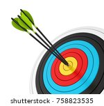 archery target with arrows... | Shutterstock . vector #758823535
