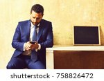 interview. texting to colleague ... | Shutterstock . vector #758826472