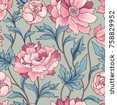 floral pattern rose ornamental... | Shutterstock .eps vector #758829952