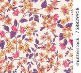 floral seamless pattern.... | Shutterstock .eps vector #758829958