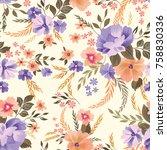 floral seamless pattern.... | Shutterstock .eps vector #758830336