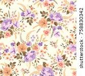 floral seamless pattern.... | Shutterstock .eps vector #758830342