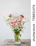 Small photo of Pink ranunculus flowers and tiny white gypsophila paniculata.