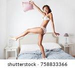 beautiful african american... | Shutterstock . vector #758833366