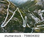 trollstigen road in norway... | Shutterstock . vector #758834302