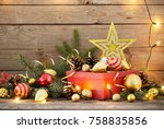 christmas toys and red box on... | Shutterstock . vector #758835856