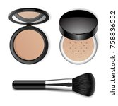 vector make up products set.... | Shutterstock .eps vector #758836552