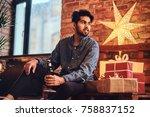 a man drinks beer. | Shutterstock . vector #758837152