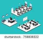 isometric 3d illustration set... | Shutterstock .eps vector #758838322