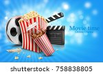 glass of cola splash  popcorn...   Shutterstock .eps vector #758838805