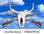 antique cowboy lever action...   Shutterstock . vector #758839936