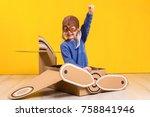 little dreamer girl playing...   Shutterstock . vector #758841946