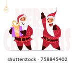 santa claus expressions and... | Shutterstock .eps vector #758845402