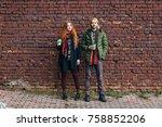 hot drinks  winter  holidays ... | Shutterstock . vector #758852206