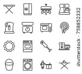 thin line icon set   iron board ... | Shutterstock .eps vector #758852332